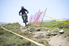 GRANADA, SPAIN - JUNE 30: Unknown racer on the competition of the mountain downhill bike Bull bikes Cup DH 2013, Sierra Nevada. Competition mountain downhill stock photos