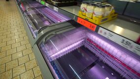 Granada Spain 14 March , 2020: Empty supermarket shelves. Panic from the coronavirus Covid-19 v in Spain. People bought