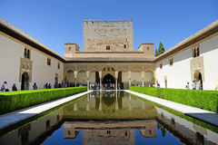 GRANADA, SPAIN - MAY 6, 2017: Alhambra, Granada, Spain. The Nasrid Palaces Palacios Nazara­es in the Alhambra fortress. stock image