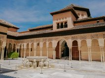 The Court of the Lions, Alhambra palace, Andalusia. Granada, Spain. stock photography