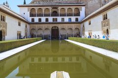 Alhambra in Granada, Spain: Nasrid Palace, Myrtle`s Courtyard stock images