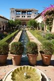 Granada, Spain - September 13th 2017: The gardens and fountains of the Generalife Palace, Alhambra, Granada, Spain royalty free stock photography