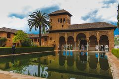 Granada, Spain - 5/6/18: Torre de las Damas. El partal. stock photos