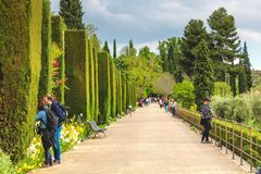 Granada, Spain - 5/6/18: Tourists in the Alhambra Garden, bushes royalty free stock photos