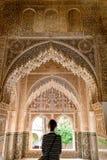 Granada Spanien - 5/6/18: Nasrid dynastislott av lejonen, Alhambra arkivfoto
