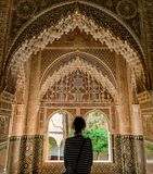 Granada Spanien - 5/6/18: Nasrid dynastislott av lejonen, Alhambra arkivbild