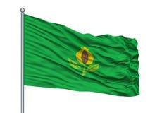 Granada-Stadt-Flagge auf Fahnenmast, Kolumbien, Cundinamarca-Abteilung, lokalisiert auf weißem Hintergrund lizenzfreie abbildung