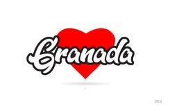 Granada-Stadtdesigntypographie mit rotem Herzikonenlogo vektor abbildung