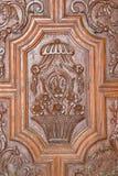 Granada - szczegół rzeźbiący barokowy drzwi bazylika San Juan De Dios Zdjęcie Royalty Free