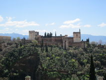From Granada to the world. Top view of the Alhambra in Granada, Spain Royalty Free Stock Photography