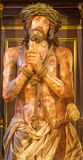 Granada -  The tortured Jesus Christ in Bond statue in church Iglesia de los santos Justo y Pastor. GRANADA, SPAIN - MAY 29, 2015: The tortured Jesus Christ in Stock Image
