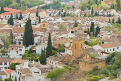 Granada town skyline. And rooftops Stock Photography