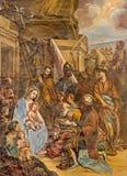 Granada - Trzy Magi fresk w kościelnym Monasterio De San Jeronimo Zdjęcie Stock