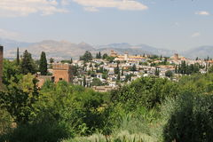 Granada. View at Granada from Alhambra stock photos