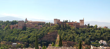 Granada, view of the castle of the Alhambra Royalty Free Stock Images