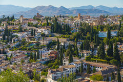 Granada view, Spain. City architecture viewed from the Alhambra in Granada, Spain Royalty Free Stock Images