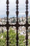 Granada view though Generalife window Royalty Free Stock Photography