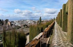 Granada in winter. The Gardens of Heneralife in Granada (Spain) at winter Stock Photography