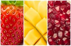 Granada y mango de la fresa de las frutas del collage imagen de archivo