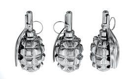Granadas de prata dos anti-pessoais Fotografia de Stock Royalty Free