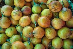 Granadilla in Colombia. Bulk granadilla in the farmers market in Colombia Stock Image