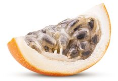 Granadilla fruit slice. Isolated on white background. Clipping Path. Full depth of field Royalty Free Stock Photo