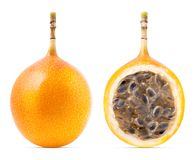 Granadilla or grenadia passion fruit isolated. On white background. Clipping path included stock photography
