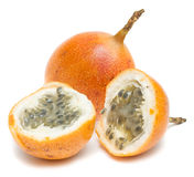 Granadilla  (Passiflora). Granadilla. Image series of fresh vegetables and fruits on white background Royalty Free Stock Images