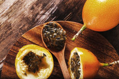Granadilla. Sweet granadilla fruit on the table Stock Image