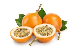 Granadilla or yellow passion fruit with leaf isolated on white background.  royalty free stock photo