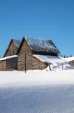 Granai di Snowy nel sole in Ontario nordico Fotografia Stock