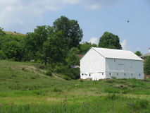 Granaio bianco sull'azienda agricola della Pensilvania Fotografie Stock