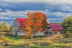Granaio del paese in autunno Fotografia Stock Libera da Diritti