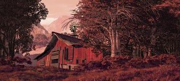 Granaio di cavallo con il mulino a vento Fotografie Stock