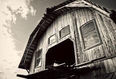 Granaio di legno - in bianco e nero Fotografia Stock