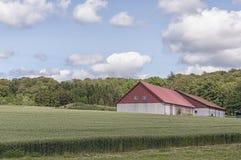 Granaio e campo dell'azienda agricola fotografia stock