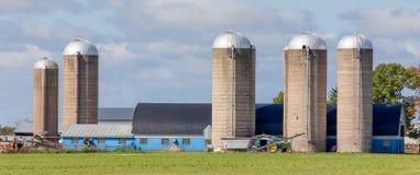 Granaio e costruzioni blu con panorama verde della priorità alta del pascolo Fotografie Stock Libere da Diritti