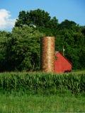 Granaio e silo rossi Fotografie Stock