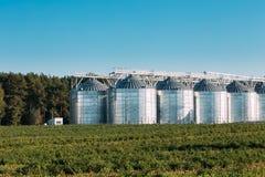 Granaio moderno, complesso dell'essiccazione dei cereali, grano commerciale o silos del seme Fotografia Stock