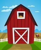 Granaio rosso dell'azienda agricola Fotografie Stock Libere da Diritti