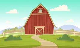 Granaio rosso dell'azienda agricola Fotografia Stock