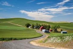 Granaio rosso ed azienda agricola quotidiana in bella campagna in Palouse Immagine Stock Libera da Diritti