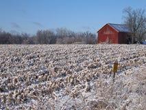 Granaio rosso nel campo dello Snowy Immagini Stock