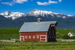 Granaio rosso nell'Oregon fotografia stock libera da diritti