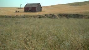 Granaio rosso rustico, Palouse, Washington 4K UHD video d archivio