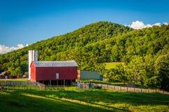 Granaio su un'azienda agricola e montagna nello Shenandoah Valley rurale di Vi Immagine Stock