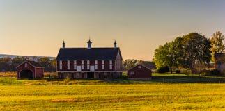 Granaio su un'azienda agricola a Gettysburg, Pensilvania fotografia stock