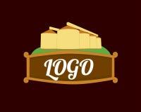 Granaries logotype. Granaries, Farmland logotype on brown background. Illustration of a granary Royalty Free Stock Photo