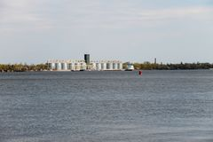 Granaries for storing cereal grains on river Dnieper. Ukraine Royalty Free Stock Images
