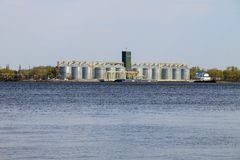 Granaries for storing cereal grains on river Dnieper. Ukraine Stock Photography